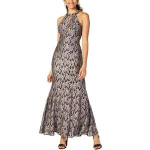 Nightway 12P Black Taupe Lace Gown NWT BV76